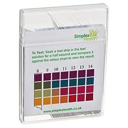Simplex Health acqua PH Strisce Reattive per test 0-14 ampia gamma & quattro Pad universale per ACIDO alcalina per testare, 100 STRISCE – Better Than TORNASOLE carta