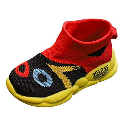 WEXCV Unisex Baby Jungen Mädchen Schuhe Herbst Warm Stricken Farbabstimmung Atmungsaktiv Anti-Rutsch-Weiche Sportschuhe Kinder Sneaker Freizeitschuhe 20-27 -