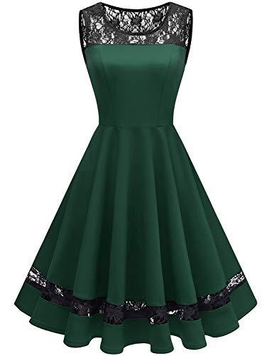 GardenWed Damen 1950er Elegant Spitzenkleid Ärmellos Cocktailkleid Knielang Rockabilly Kleid Partykleider Abendkleider Dark Green ()