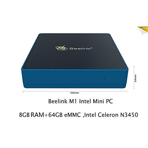 Beelink M1 Intel Mini PC DDR3 8GB 64GB eMMC with Dual Screen Display - 4K Ultra HD Intel Celeron N3450 Desktop PC DIY SSD - 1000Mbps/LAN BT4,0 Dual Wifi Small Computer(VGA/HDMI Output)