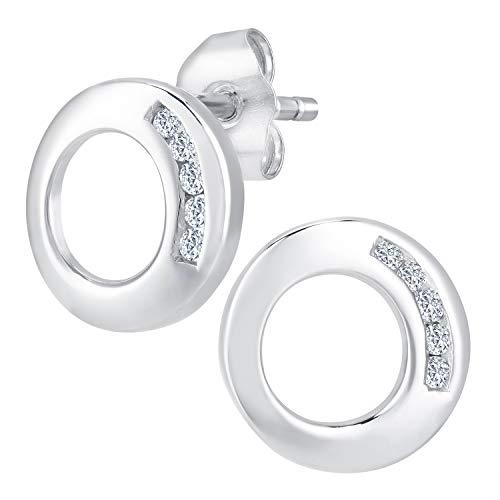 b4c5b987ba59 Naava Pendientes para Mujer de Oro Blanco 9K con 10 Diamantes