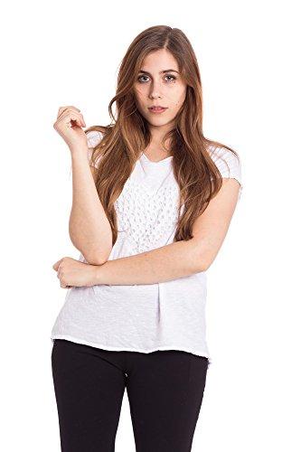 Abbino Basics Basiques Tops T-Shirts Femmes - Fabriqué en Italie - Plusieurs Couleurs - Transition Printemps Été Automne Plaine Elegant Classique Vintage Casual Manches Courtes Uni - Taille Unique Blanc - Weiss (Art. 16166)