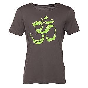 Bodhi Yoga Shirt für Männer mit OM-Print (grün), 50% Modal, 50% Bio-Baumwolle, Rundhals-Shirt, anthrazit
