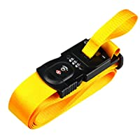 Sisit 3-in-1 Design Luggage Strap With Electronic Scale And 3 Digit Lock,One Word Belt Electronic Scale TSA Customs Code Lock Baggage Binding and Weighing Baggage Belt (Yellow)