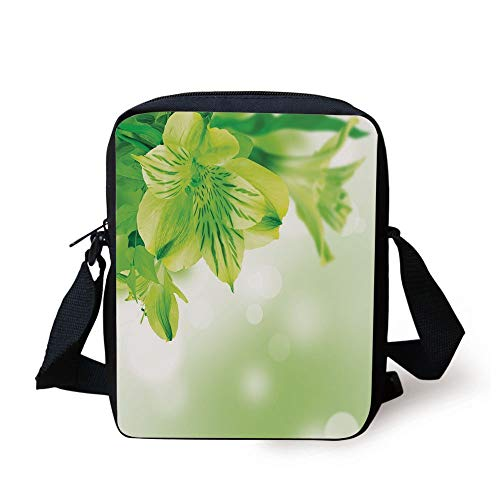 Green,Fresh Lily Flower Bloom with Leaves Abstract Bokeh Backdrop Garden Plant,Lime Green Apple Green Print Kids Crossbody Messenger Bag Purse -