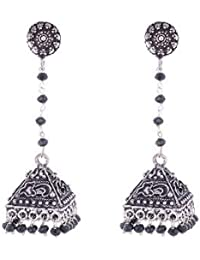Ganapathy Gems Ethnic Antique Oxodised Silver Plated Black Metal Jhumki Earing For Women & Girls