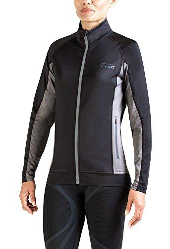XAED - giacca a vento a maniche lunghe, da donna, Small, colore nero / grigio