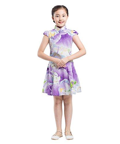 Kostüme Chinesische Kinder (AKAAYUKO Mädchen Blumen Qipao Chinesischen Stil Cheongsam Kostüm Party)