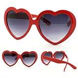 Divertenti occhiali da sole estivi retro a forma di cuore Gemini_mall® per feste in maschera, Red, Taglia unica