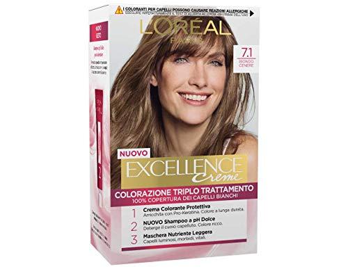L'Oréal Paris Excellence Creme, Tinta Colorante con Triplo Trattamento Avanzato, Copre i Capelli Bianchi, 7.1 Biondo Cenere