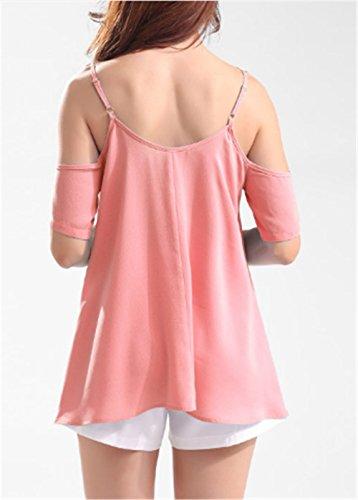 AILIENT Femme Chic Bretelles Top Sans Manches DÉBardeur Sexy Dos Nu T-Shirt Splice Dentelle Blouses Beau pink