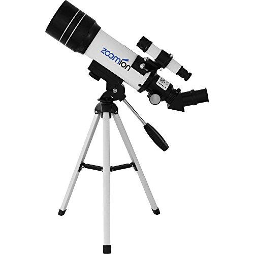 Zoomion Teleskop Pioneer 70 AZ, Fernrohr mit Tischstativ für die Astronomie mit 70mm Öffnung und 360mm Brennweite