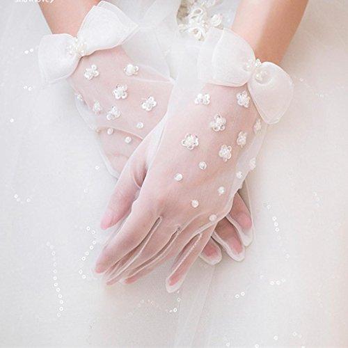 wgwioo Cocktail Party Weiße Schleier Bogen-Knoten Pailletten Bridal Pearl Kurze Hochzeit Handschuhe , White