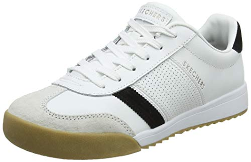 Skechers Damen Zinger -Retro Rockers Sneaker, (White Leather Black Suede^ Trim #Yellow WBK), 5.5 EU Lace Up Suede Sneakers