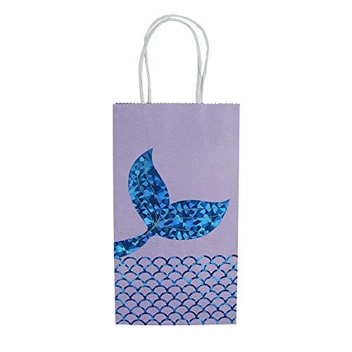 Godagoda Partydeko Zubehör Meerjungfrau Stil Schwanz Muster Druck Kinder Einkaufstasche Handtasche Geschenkbeutel Geschenktasche mit Griff 12PC