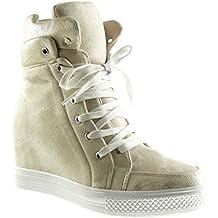 Angkorly Scarpe Moda Sneaker Alti Zeppe Stile Vintage Donna Lucide Lucide  Tacco Zeppa Piattaforma 8 cm e222d8ee37c
