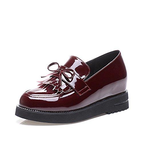LvYuan Scarpe da donna / Stile preppy / nappe Dunk / Heel basso / comodo / punta rotonda / punta chiusa / Oxfords / Outdoor / Casual Wine Red
