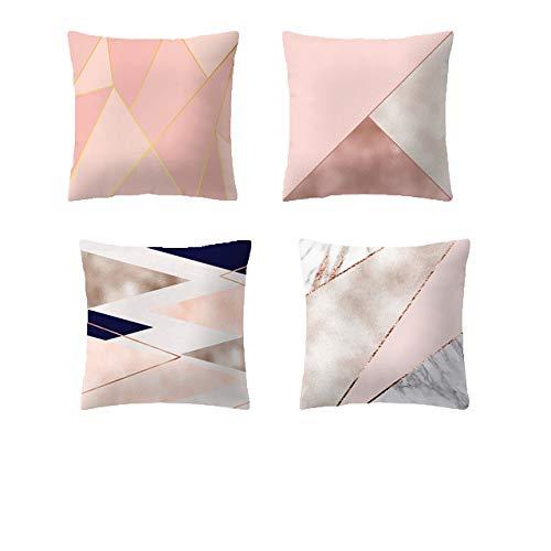 JUNGEN Kissenbezüge Set Rosa Zierkissenbezüge Geometrisches Muster Kissenhülle für Schlafzimmer Sofa Bett Autositz Dekoration 45 * 45 cm