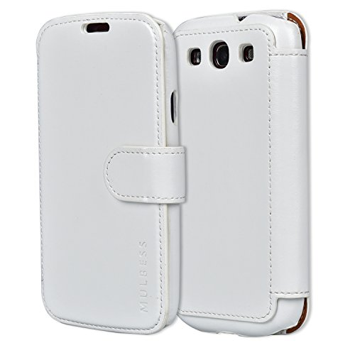 Custodia Galaxy S3 - Cover Galaxy S3 - Mulbess Custodia In Pelle Con Flip Cover Per Samsung Galaxy S3 Custodia Pelle Bianco