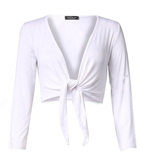 Da donna Tinta unita maniche lunghe Tie anteriore viscosa Coprispalle Bianco