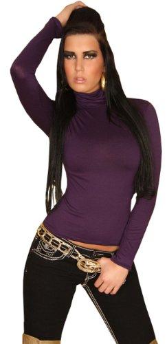 Langarm-Shirt mit Rollkragen & eleganter Rückenverzierung Einheitsgröße (32-38), dunkellila