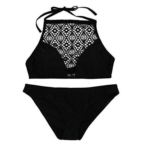 Huihong Damen Brasilianischen Bikinis Sandigen Strand Sexy Mesh BH + Hohe Taille Unterhose String Tankini Set Badeanzug Bademode (Schwarz, XL) -