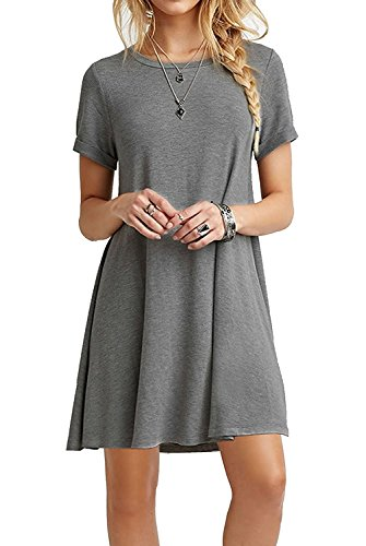 Mädchen T-shirt Kleid (YOINS Sommerkleid Damen Tunika Tshirt Kleid Bluse Kurzarm MiniKleid Boho Maxikleid Rundhals Grau EU32-34, S)