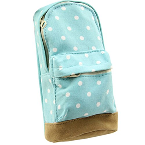 Kosmetik-etui Mini (Little Finger Fashion Mini Rucksack geformtes Dot Muster Canvas Reißverschluss Bleistift Fall Tasche für 16.5cm hellblau)