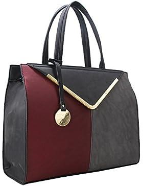 CRAZYCHIC - Damen Handtasche mit Gold Schlüsselanhänger und Platte - Frau Tasche - Große Tote Shopper - Henkeltasche...