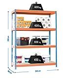 Simonrack Simonforte 2409-4 Chipboard Metal Naranja, Azul, Madera natural - Estanterías para el hogar (4 estanterías, Metal, Naranja, Azul, Madera nat