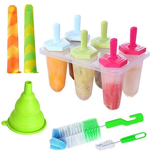 Eisformen, Queta 6 Stück Popsicle Formen Set, 2 Stück Eislutscher Formen, mit BPA Frei Silikon Reinigungsbürste und Falttrichter, für Kinder und Erwachsene