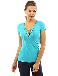 PattyBoutik Mujer v cordón del cuello hasta la blusa de manga corta