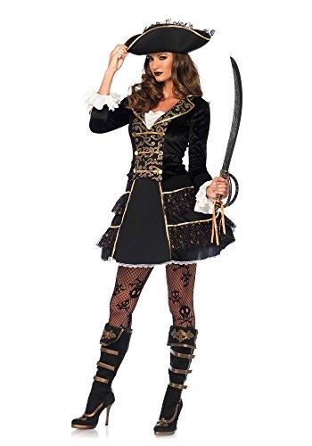 Imagen de leg avenue 855492piezas set de capitán pirata, mujer carnaval disfraz de alta mar, m, color negro/oro