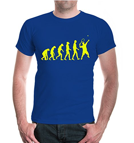 buXsbaum® Herren Unisex Kurzarm T-Shirt The Evolution of Tennis | Tennischläger Tennisball royal-neonyellow