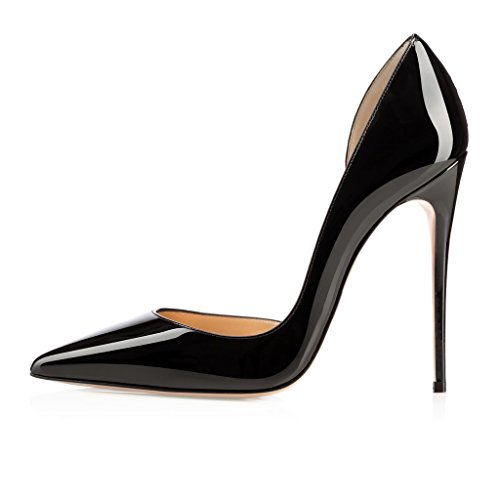 EDEFS Femmes Artisan Fashion Escarpins Classiques Pointus Des Couleurs Chaussures à talon haut 120MM Bleu Noir