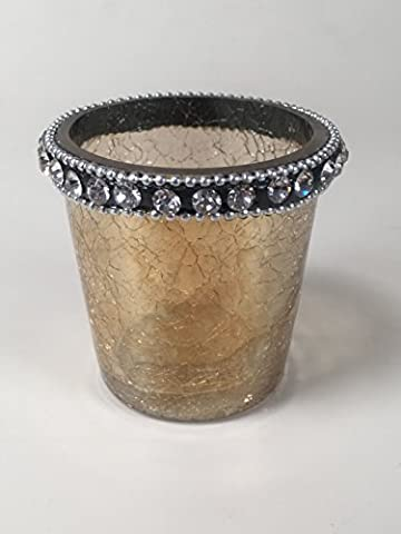 Ambre craquelé Photophore en verre avec du Faux Diamant