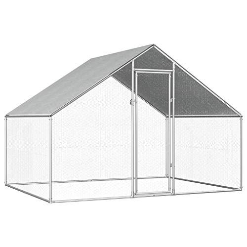 yorten Jaula Gallinero de Exterior de Acero Galvanizado Jaula para Pollos con Estructura de Acero 2,75x2x2 m