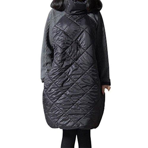 Frauen Winter Warm Windbreaker, Moonuy Damen Mädchen Plus Größe Winter Warm Parka Patchwork Rollkragen Baumwolle Gepolsterte Tops Herbst Elegante Bluse (Grau, EU 38 / Asien L)