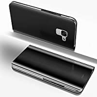 Coque pour Samsung Galaxy A8 Plus 2018,Coque Galaxy A8 Plus 2018 Miroir Housse en Cuir,MoreChioce Galaxy A8 Plus 2018 Coque à Rabat Étui Housse Miroir de Maquillage Electroplate Placage Stand Caractéristique Slim Full Body Protective Folio Cover Flip Wallet Book Style Ultra-mince Slim Souple Silicone intérieu Cover Anyi-Choc Anti-Rayures Protection Protecteur Coque Case pour Galaxy A8 Plus 2018 + Stylet,Noir