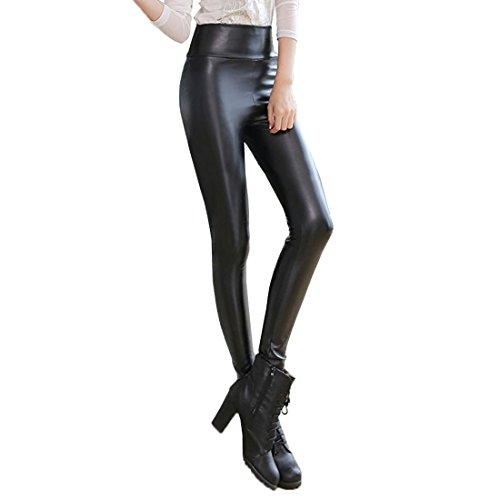 Andux Frauen PU-Leder-Gamaschen-hohe Taillen-dünne Hosen-SS-W09 (L)