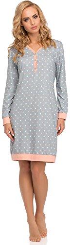 Cornette Damen Nachthemd 654 2015 (Grau/Rosa(Meggie2), 38 (Herstellergröße: M))