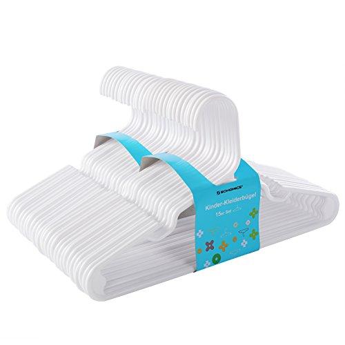 SONGMICS Perchas Infantiles Plástico, Set de 30, Muesca Ensanchada Zona Triangular Reforzada 29,5 cm Blanco CRP06W-30
