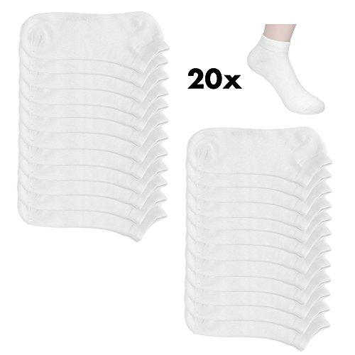 20 Paar Sneaker Socken Damen und Herren Kurzsocken Füßlinge Baumwolle in Schwarz und Weiß (43-46, 24xweiß)