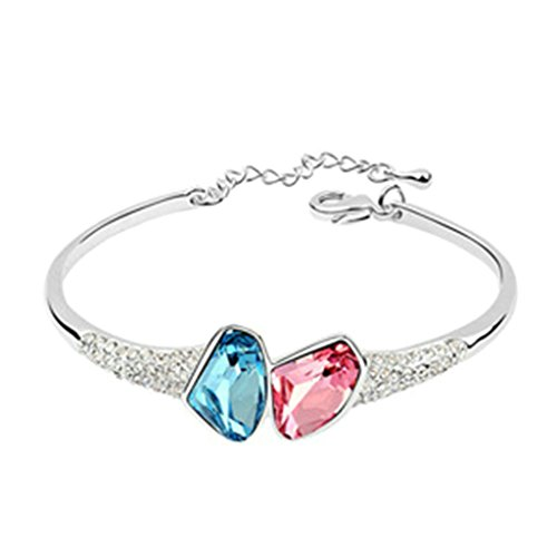 Aooaz placcato in oro bianco braccialetto per le donne, matrimonio bracciale braccialetti CZ cristallo Zirconia cubica, bianca blu rosso