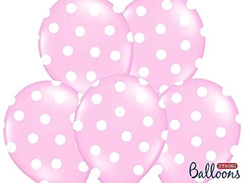 6 Ballons de baudruche à pois Rose Pastel