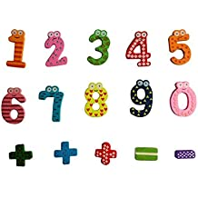 Tefamore-Juguete Educativo De Números De Madera Magnéticos Math Set Digital Baby(15PCS)