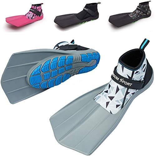 Khroom Das ORIGINAL aus YouTube - Amphibien Flossen für Erwachsene & Kinder   Snorkel Flippers Perfect for Land & See ,Mosaic Weiß,45EU