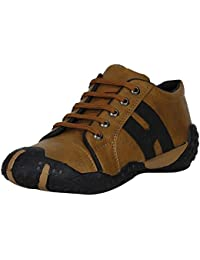 Emosis Stylish Tan Brown In Color Corporate Office Casual Sneakers Lace-Up Derby Boots Shoes For Men
