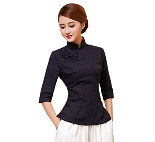 ACVIP Cotone Lino Camicia da Donna Puro Blusa a Maniche Medie Nero