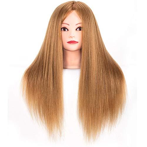 Salón de belleza modelo de la cabeza 20 pulgadas de 85% Formación de pelo real Modelo de la cabeza de corte Cuerpo Bun Ejercicio Estudiante Modelo 60 CM,Colour1